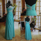 Strapless Heavy Beaded Floor Length Chiffon light blue Prom dress