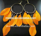 2011 New fashion colorful 100%Natural Feather Earrings