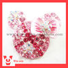 lovely pink mickey head rhinestone brooch