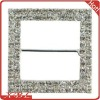 2 row Rhinestone Buckle Slider 40mm Silver Square