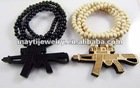 wood hip hop machine-gun hipa assorted color 8mm beads necklace chain