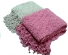 feather yarn knitted throw