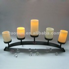black iron tabletop holder with candles set for home use