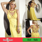 Floor-length straight lady dress yellow chiffon backless beaded cocktail dresses 2012