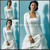 JAC068 Elegant White Satin Long Sleeves wedding bolero Jacket