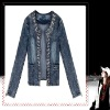 Fashion Ladies' Cowboy Small Jacket Long Sleeve Coat Korean Style