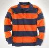 Men's 100%cotton long sleeve stripe polo shirts