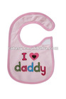 Cute embroidery pattern waterproof with velcro baby bib