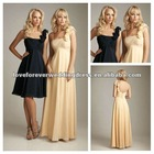 Fabulous One-shoulder Beaded Red and Hunter Satin Sheath Fashion Bridesmaid Dress 2012 Long