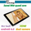 Freescale i.MX6Q Cpu Roket Speed SANEI N10 Quad cores 4.8GHz RAM 1GB ROM 16GB Dual Camera 1280x800 Android 4.0 Tablet Pc
