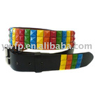 Fashion PU belt with color square studs