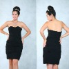 2012-2013 black color off shoudler shirring wonderful summer season elegant cocktail & ball eveing dresses & wedding dresses