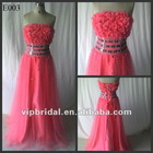 Red Handmade flowers with beaded sequins sash evening dress real sample