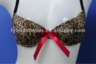 panther print bowknot bra