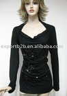 fashion style beaded long sleeve ladies' clothes,ladies blouse