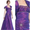 Hot Selling Strapless Purple Taffeta Appliqued Long Mother of Bride Gown with Jacket