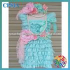 vintage lace dress with match wasit sash&headband&pearl necklace new design for girl