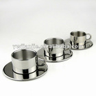 stainless steel coffee cup with plate