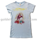 lady's white print t-shirt