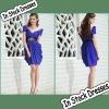 SC0005 Navy Blue Short Sleeve Sash Embellish Knee Length Short Fashion Dresses