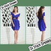 SC0005 Navy Blue Short Sleeve Sash Embellish Knee Length Short Fashion Dresses