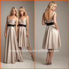 Custom-made 2011 sexy cheap chocolate satin A-line one shoulder sash ruffled Bridesmaid Dresses