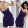 Top seller sweetheart beaded ruched custom-made dark purple homecoming dresses CWFac4946