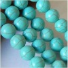 Free shipping!!wholesale 16mm(25beads and 39-40cm length) Round Natural stone of beads turquoise Don't fade in color