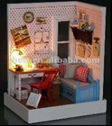 diy wood dollhouse with light,diy miniature toy doll house,wooden dolls house with furniture