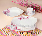 Elegant 20pcs square porcelain dinner set spring, good quality,plates ,cup and saucer