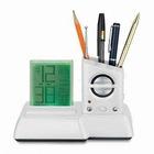 MANUFACTURER multifunction color change digital calendar clock with penholder with radio