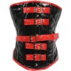 Red and black PU corset CST-93144