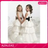 AZ0072 Floor length Round Neck Handmade Flower Bow Ribbon Ruffle A-Line baby girl party dress