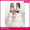 AZ0072 Floor length Round Neck Handmade Flower Bow Ribbon Ruffle A-Line baby girl party dress