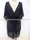 Women's hotest 2012 chiffion v-neck dress designer
