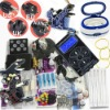 Professional Tattoo Kit Dual LCD Power 3 Machines Guns 3 Grips 14 Inks 100 Needles AND Ultrasonic Cleaner