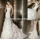 Stock Charming Brides One-shoulder Fishtail 0rganza Layered Wedding Dress XYY-k12