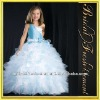 Hot Sale Long Organza Ruffled Beaded Evening Dress Little Girl