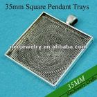 35MM Antique Silver Square Blank Tray Pendants, Blank Bazel Settings, Blank Pendant Settings For Cabochons or Stickers