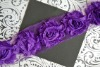 Dark Purple Chiffon Flower Shabby Trim