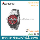 Six hands Stainless Steel Watches For Promotion Gift