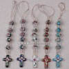 Multi-Colored Enamel Cloisonne Cord Rosary Keychain