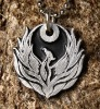 Phoenix pendant Pewter Firebird Necklace with Chain