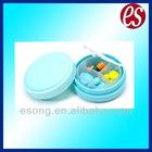 Mini round plastic pill box with 3 compartments