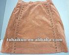 2012 hottest Popular A-line Pigskin back velvet leather skirt