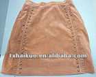 2012 hottest Popular A-line Pigskin back velvet leather skirt