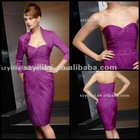 Free Shipping 2012 New Chiffon Shrapless Beaded with a Jacket Knee Length Mother of the Bride Dresses JYMD063