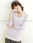 Silk/cashmere blended women pullover sweater