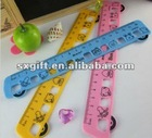 train shape colorful plastic ruler with animal print