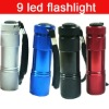 Highest Quality Outdoor Colourful Super Bright 9 LED Mini Torch Flashlight Lamp Aluminum For Camp Picnic Hiking Without Battery